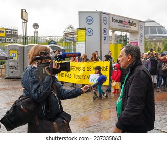Paris, France - May 10, 2014: Activists society vegetarians and animal protection at a demonstration in Paris.