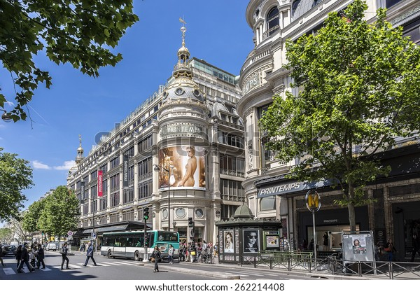 PARIS, FRANCE - MAY 10, 2014: Printemps (founded in 1865) in Paris - largest beauty Department Store in the world with 45000 sqm of shopping. Fragment of a building (registered as Historic Monument).