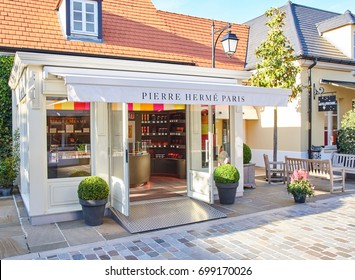 PARIS, FRANCE - MAY 10, 2017 : Pierre Herme Paris boutique in La Vallee Village.