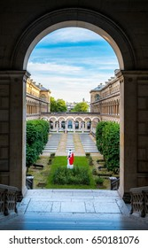 PARIS, FRANCE - MAY 10, 2017-Courtyard artistic view of the hotel Dieu in Paris near Notre-Dame