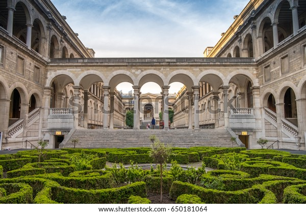 PARIS, FRANCE - MAY 10, 2017-Main Courtyard of the hotel Dieu in Paris near Notre-Dame