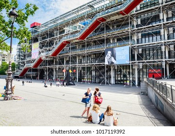 PARIS, FRANCE - MAY 11, 2017:  Facade of the Centre of Georges Pompidou timelapse in Paris, France. The Centre of Georges Pompidou is one of the most famous museums of the modern art in the world