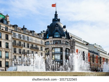 PARIS, FRANCE - MAY 11, 2017: Fountain on place Hotel-de-Ville. Paris. France