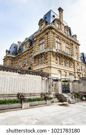 PARIS, FRANCE - MAY 11, 2017: The building of the Town Hall in Versailles (Hotel de Ville) and Memorial plaque. France