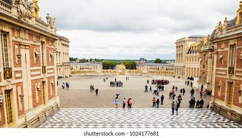 PARIS, FRANCE - MAY 11, 2017: Marble courtyard at Palace of Versailles, France