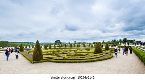 PARIS, FRANCE - MAY 11, 2017: View of the park of the Palace Versailles