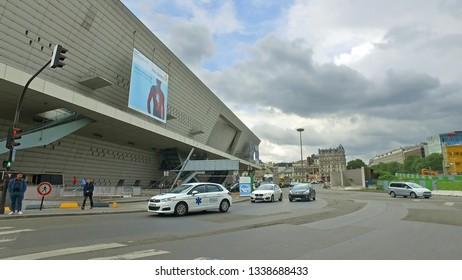 Paris, France - May 11, 2017: Traffic Jam in the city of Paris near Congress Palace (Palais des congres) and Hyatt Regency