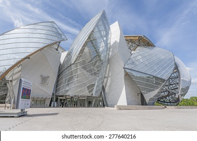 PARIS, FRANCE - MAY 12, 2015: The Louis Vuitton Foundation. The Fondation Louis Vuitton is an art museum and cultural center sponsored by the group LVMH.