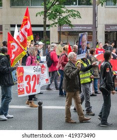 Paris, France - May 12, 2016 - French unions and students protest in Paris, France after the government forced through controversial labour reforms.