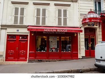 PARIS, FRANCE - MAY 12, 2017: Shop Moulin Rouge. Rue Lepic. Paris, France