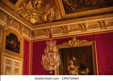 PARIS, FRANCE - MAY 12, 2019.  Interior of Chateau de Versailles (Palace of Versailles). Versailles palace is in UNESCO World Heritage Site list since 1979. Vacation in Paris