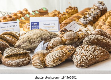 PARIS, FRANCE - MAY 13, 2014: Fete du pain (Holiday of bread) near Notre-Dame. Bakery competition.