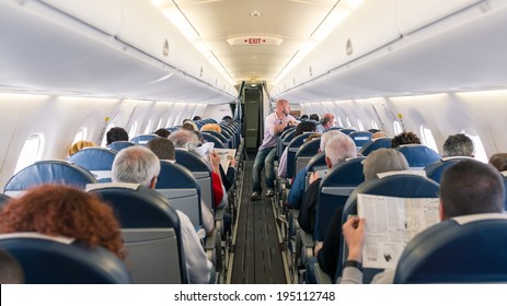 PARIS, FRANCE - MAY 13, 2014: Air France Jet airplanes interior view. Air France is rated among the top 10 biggest airlines in the world and top 3 biggest airlines in Europe.