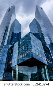 PARIS, FRANCE - MAY 13, 2014: View of Societe Generale headquarter (SG) in La Defense district, Paris. Societe Generale is a French multinational banking and financial services company.