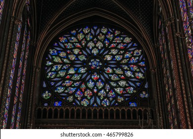 PARIS, FRANCE - MAY 13, 2015: This is window-rose with stained glass of the upper part of the chapel of Saint Chapelle.