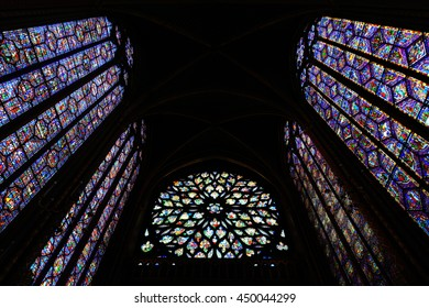 PARIS, FRANCE - MAY 13: Stained glass pattern in Sainte Chapelle on May 13, 2015 in Paris.It has one of the world's most extensive 13th-Century stained glass collection.