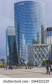 PARIS, FRANCE - MAY 14, 2014: La Defense - modern business and financial district in Paris with high-rise buildings.