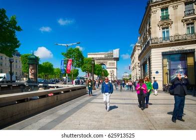 PARIS, FRANCE - MAY 14, 2014: Champs Elysees