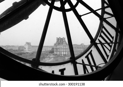 Paris, France - May 14, 2015: Large clocks with roman numerals in Museum d'Orsay,  Paris.The museum houses the largest collection of impressionist and post-impressionist masterpieces in the world.