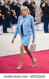 PARIS, FRANCE - MAY 14, 2017 : Brigitte Macron, the wife of the new president of France Emmanuel Macron arriving at Elysee Palace (Palais de l'Elysee) for the ceremony of transfer of power.