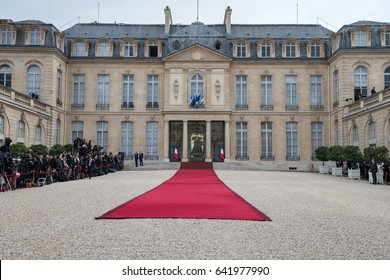 PARIS, FRANCE - MAY 14, 2017 : Courtyard of the Elysee palace ( Palais de l'Elysee ) with red carpet and medias before the transfer of power between Francois Hollande and Emmanuel Macron