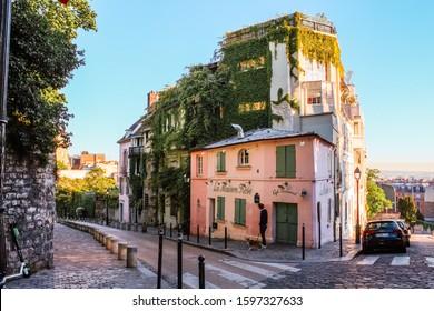 "Paris / France - May 14, 2019: Cafe ""La Maison Rose"" (Pink House)"
