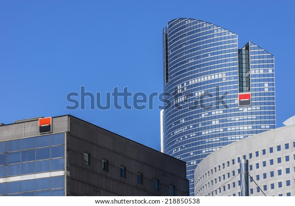 PARIS, FRANCE - MAY 15, 2014: View of Societe Generale headquarter (SG) tours in La Defense district. Societe Generale is a French multinational banking and financial services company.