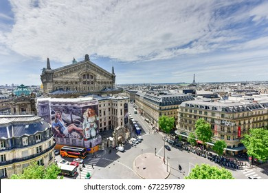 Paris, France - May 15 2017: Panoramic view from Galeries Lafayette Haussmann unto the Paris skyline.