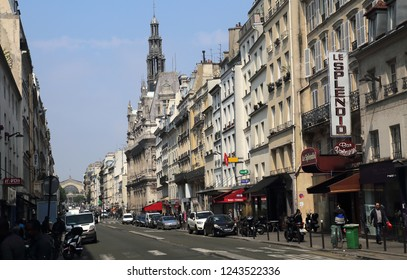 Paris, France - May 15, 2018: Traffic of cars in busy Rue du Faubourg Rue Saint-Denis street in Paris, France on May 15, 2018