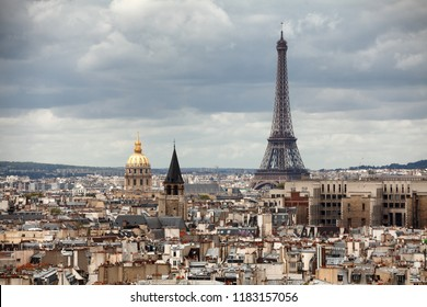 Paris, France, May 16, 2013:Elevated view of the buildings and suburbs of Paris, France