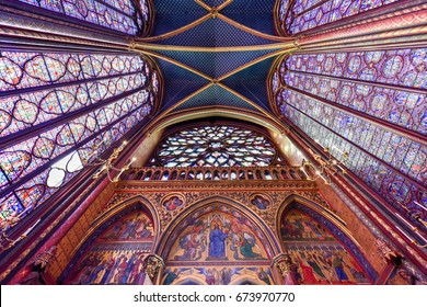 Paris, France - May 16, 2017: The Sainte-Chapelle is a royal chapel in the Gothic style, within the medieval Palais de la Cite, on the Ile de la Cite in Paris, France.