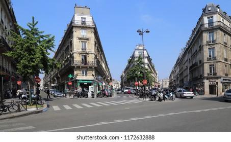 Paris, France - May 16, 2018: Traffic on Rue de Saint-Pétersbourg street in Montmartre in Paris, France on May 16, 2018