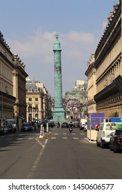 Paris, France - May 16, 2018: Vendome column on Place de Vendome in Paris, France on May 16, 2018