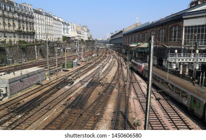 Paris, France - May 16, 2018: Railway tracks from Gare Saint-Lazare railway station in Paris, France on May 16, 2018