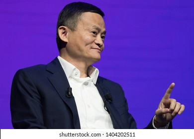 PARIS, FRANCE - MAY 16, 2019 : The chinese businessman and CEO of Alibaba group Jack Ma in congress at VIVA Technology (Vivatech) the world's rendezvous for startup and leaders.