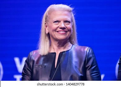 PARIS, FRANCE - MAY 16, 2019 : The chairman, president and CEO of IBM Virginia Rometty called Ginni Rometty,  in congress at VIVA Technology (Vivatech) the world's rendezvous for startup and leaders.