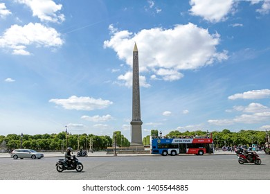 Paris, France - May 16, 2019 : The Luxor Obelisk, Ancient Egyptian obelisk standing at the centre of the Place de la Concorde in Paris, France