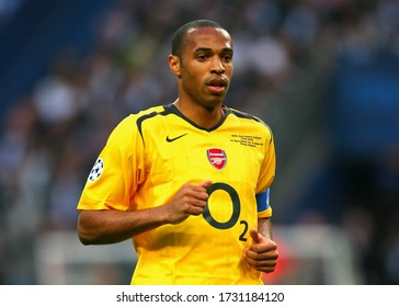 Paris, FRANCE - May 17, 2006:  Thierry Henry  looks on  during the UEFA Champions League final 2005/2006 FC Barcelona v Arsenal FC at the Stade de France.