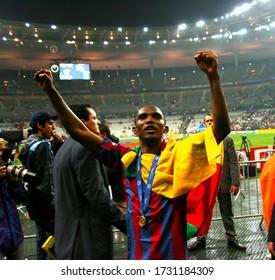Paris, FRANCE - May 17, 2006:  Samuel Eto'o celebrates the victory before the UEFA Champions League final 2005/2006 FC Barcelona v Arsenal FC at the Stade de France.