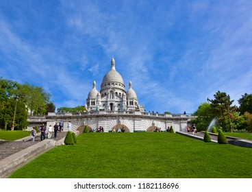Paris, France - May 17, 2017: Basilica of the Sacred Heart of Paris (Sacre-Cœur Basilica) at the Montmartre