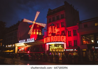 PARIS, FRANCE- MAY 17, 2017:The Moulin Rouge by night. Night lights of the Moulin Rouge cabaret in Paris.