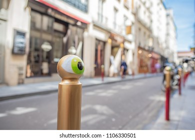 Paris / France - May 18, 2018: Close up of one of the street posts painted with a whimsical eye, commonly seen along the streets of the famous Saint-Germain des Pres neighborhood, in Paris' Left Bank.