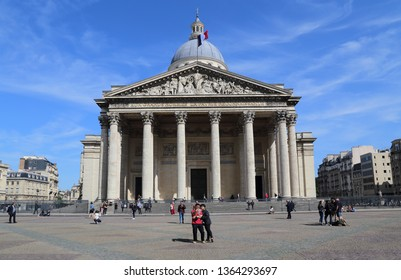 Paris, France - May 18, 2018: Tourists in front of the Pantheon in Paris, France in Paris, France on May 18, 2018
