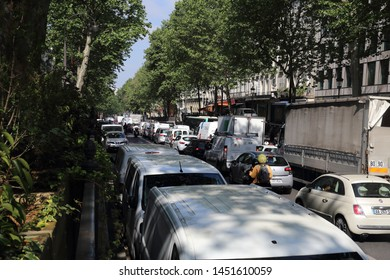 Paris, France - May 18, 2018: Busy traffic of cars in Paris, France in Paris, France on May 18, 2018