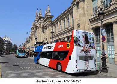 Paris, France - May 19, 2018: Tourist bus at the Gare du Nord railway station in Paris, France on May 19, 2018