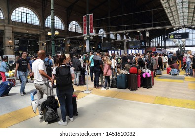 Paris, France - May 19, 2018:Travelers in the Gare du Nord railway station in Paris, France on May 19, 2018