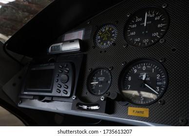 PARIS, FRANCE - MAY 19, 2020: Microlight Ultralight aircraft inside autogyro instrument panel