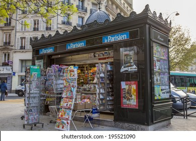 Paris, France, May 2, 2013 . Newsstand on the Boulevard