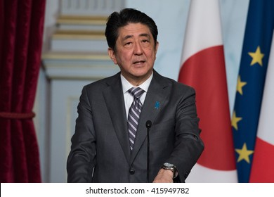 PARIS, FRANCE - MAY 2, 2016 : The Prime Minister of Japan Shinzo during press conference at Elysee Palace (Palais de l'Elysee) for a working visit about the summit of G7 in japan.