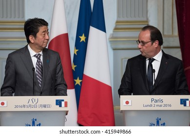 PARIS, FRANCE - MAY 2, 2016: The french President Francois Hollande and the Prime Minister of Japan Shinzo Abe in press conference at Elysee Palace for a working visit about the summit of G7 in japan.